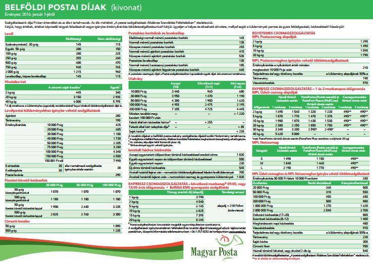postai díjak: magyar posta díjszabás